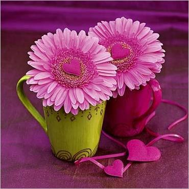 cups with purple flowers